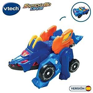 VTech- Tino, el tricerátops bólido Dinosaurio electrónico Interactivo transformable en Coche con Voz, Funciones, mas de 60 Sonidos y Frases. (3480-192222)