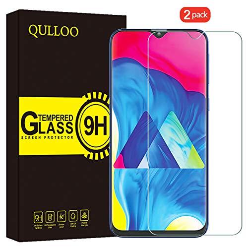 QULLOO Película de vidrio templado para Samsung Galaxy A30 / Galaxy A50 Protector de pantalla protectora 2 Packs Transparente de alta definición con película anti-rasguños para Samsung Galaxy A30 / Galaxy A50