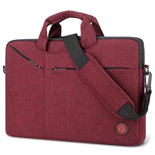 Borsa per oedenador portatile, Brinch Borsa a tracolla portatile impermeabile borsa con custodia e tracolla per PC portatile fino a 15.6pollici/Notebook/portatile Notebook/uomini/donne rosso rosso 15,6 pulgada