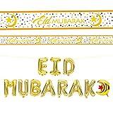 Robelli High Quality Eid Mubarak Celebration Foil Balloon & Banner Sets (Gold Eid Mubarak Foil Balloon + White/Gold Banner)