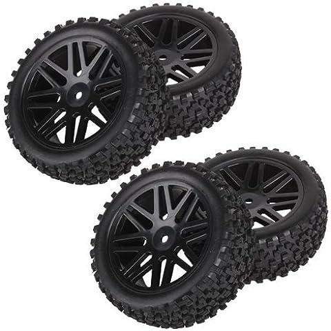 DN Delantero Trasero Llanta de goma de neumáticos Neumáticos 66016-66036 para RC 1:10 Off-Road (paquete de 4)