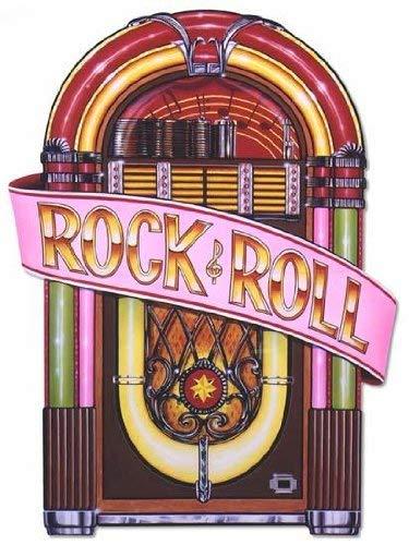 Beistle 57747 Glittered Rock and Roll Luftschlangen Party Deko Jukebox-Ausschnitte Pack of 1 Mehrfarbig