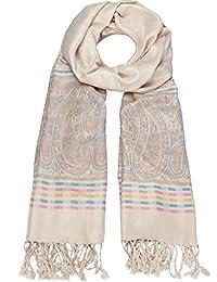 caripe eleganter großer Damen Schal Stola XXL Hals-Tuch Blumen Paisley Muster - stol99 (D3 - beige)