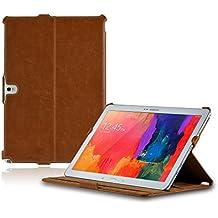 LEICKE MANNA   Funda para Samsung Galaxy NotePRO 12.2 y Samsung Galaxy TabPRO 12.2 con correa elástica de mano   Case Cover con función soporte y suspensión automática   Color marrón   Funda para Samsung Note Pro 12.2 SM-P900 P905