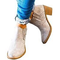 JOYTO Chelsea Boots Women Leather Ankle Block Heel Elasticated Chunky 5 cm Winter Zip Short Slip On Comfortable Smart Booties Black Brown Grey 2-8.5