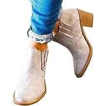 Botines Mujer Tacón Medio, Chelsea Piel Elásticos 5 Cm Zapatos De Botas Comodos Fiesta Vintage