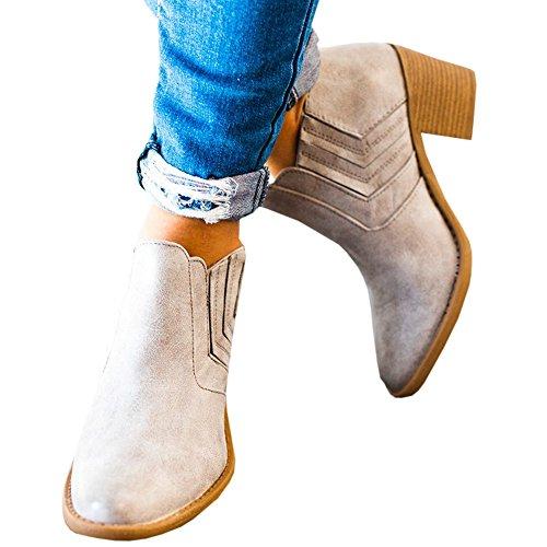 Damen Stiefel mit Absatz Chelsea Leder Kurzschaft Blockabsatz Knöchel Stiefeletten Slip on 5 cm Elastischer Herbst Hochzeit High Heel Ankle Boots Grau 39