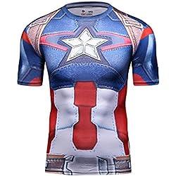 Cody Lundin® Cosplay de la serie Capitán América superhéroes de los hombres Deporte al aire libre culturismo Fitness manga corta (M)