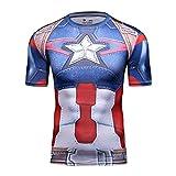 Cody Lundin Cosplay de la Serie Capitán América superhéroes de los Hombres Deporte al Aire Libre Culturismo Fitness Manga Corta (XXL)
