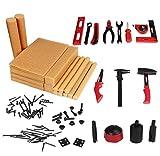 Tonsee 95 Stück Kinder Simulation Holz Werkzeug Spielzeug Kunststoff Kit Schraubendreher Hammer Tongers