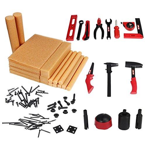 Preisvergleich Produktbild Tonsee 95 Stück Kinder Simulation Holz Werkzeug Spielzeug Kunststoff Kit Schraubendreher Hammer Tongers