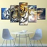 Wiwhy Leinwand Malerei Home Dekorative Modulare 5 Panel Tier Tiger Hd Druck Bild Wand Kunstdrucke Panels Poster Für Wohnzimmer-20X35/45/55Cm,With Frame