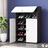 House of Quirk Plastic Shoe and Clothes Cabinet Storage Organizer Storage with 3 Doors Cabinet -White/Black