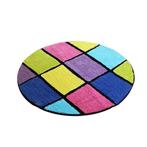 BAIF Farbiger runder Teppich, Rutschfester Karierter Teppich für Schlafzimmer, Computer-Drehstuhl-Matte (Größe: Durchmesser-90cm)