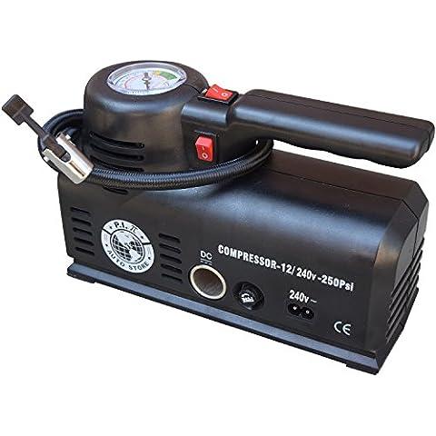 Inflador–ys-205.2–Dual Power 12V DC (Car) 240V AC (Mains). Compresor De Aire Portátil con Bolsa de almacenamiento. Por P.I. Auto Store