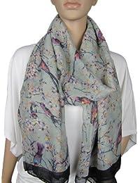 Large Japanese Vintage Style Bird Cherry Blossom Tree Print Scarf Wrap Hijab Shawl (Grey)