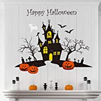 decalmile Happy Halloween Wall Decals Pumpkins Bats Tomb Wall Stickers Baby Nursery Bedroom Playroom Wall Decor