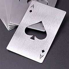 Idea Regalo - Hopefultech 4 Pezzi Tappo di Bottiglia di Birra Opener offrono Acciaio Inossidabile Carta da Gioco Ace apribottiglie Birra Apri nel Disegno Carte da Poker in Acciaio Inox di Alta qualità
