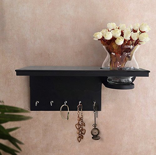 Tied Ribbons Wall Mounted Key Holder For Wall / Key Rack Hooks With Dã©Cor Shelf With Flower Vase And Flower Bunches