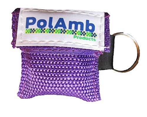 10 x CPR Gesichtsschutz / Leben Schlüssel Schlüsselanhänger Tasche (8 Colour Optionen) - Lila, ONE SIZE (Beutel-ventil-maske)