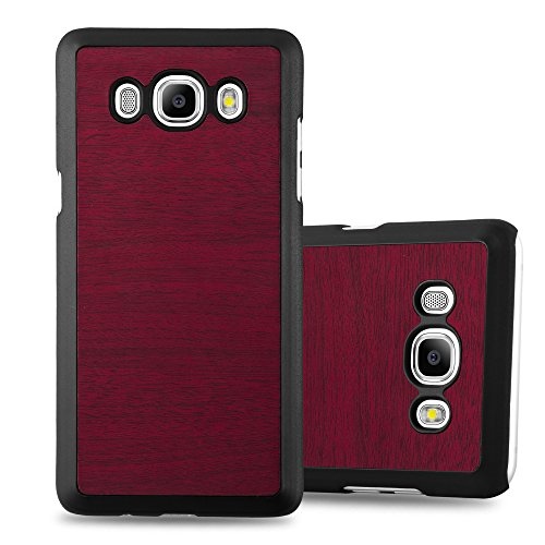 Preisvergleich Produktbild Cadorabo Hülle für Samsung Galaxy J7 2016 (6) - Hülle in Woody ROT – Hardcase Handyhülle in Vintage Holz Optik - Schutzhülle Bumper Back Case Cover