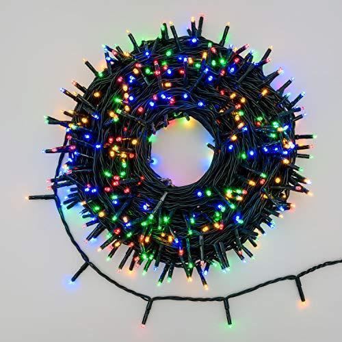 Xmasking catena 34,1 m, 480 miniled multicolor plus, (colori rosso, porpora, verde, blu), cavo verde, con controller 8 giochi catena natalizia, luci colorate, decorazione luminosa