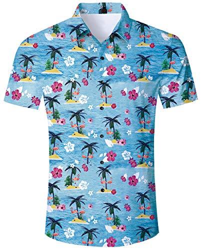 ALISISTER Flamingo Hemd Hawaiihemd Herren Button Down kurzärmeliges Hawaii Hemd Erwachsene 3D Blume Hawaii T-Shirt Lässige Beach Aloha Party Regular Slim Fit Shirts XL - Lässiges Herren T-shirt