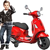 BAKAJI Moto Elettrica per Bambini Vespa VESPINA 12V Completa di Luci Suoni Colore Rosso con rotelle