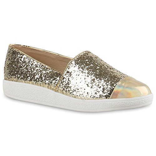 Stylische Damen Lack Sneakers Glitzer Slip-ons Slippers Gold