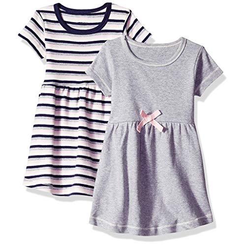LEXUPE Kinder Kurzarm Striped Print und Solid Color Rock Kleid 2PC(Grau,90)