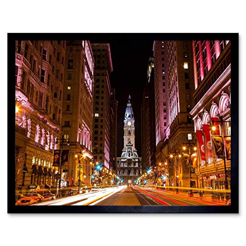 Wee Blue Coo LTD Photo Cityscape City Hall Philadelphia Pa Art Print Framed Poster Wall Decor Kunstdruck Poster Wand-Dekor-12X16 Zoll -