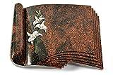 MEMORUM Grabmale Grabbuch, Grabplatte, Grabstein, Grabkissen, Urnengrabstein, Liegegrabstein Modell Prestige 40 x 30 x 8-9 cm Aruba-Granit, Poliert inkl. Gravur (Bronze-Color-Ornament Orchidee)