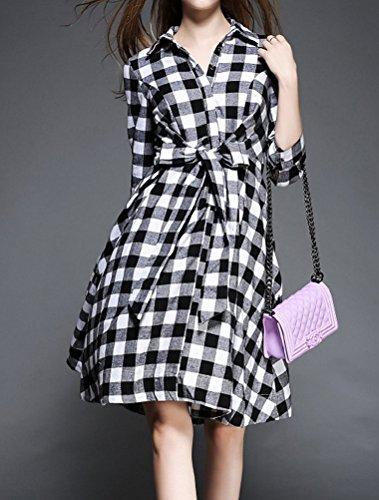 MatchLife Femme Plaid Buton Revers Robe avec Taille Ceinture XS/S/M Noir