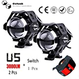 #6: Oxtusk High Beam Intensity U5 Cree led Projector Auxillary Spot Light Set of 2 On/Off Button Switch for All Motorcycles, ATV, Boats and Cars