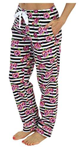 PajamaMania Flanell Pyjama Hose für Damen, Streifen mit Blumen (PMF1001-2061-UK-MED) - Streifen-satin Baumwolle Pyjama