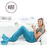 Manta sirena de la marca Pink Papaya, manta suave, manta de crochet con aleta de sirena , 180 x 90 cm, de acrilico suave de alta calidad Color: azul