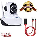MacBerry SAMSUNG Galaxy Note N-7000 Compatible Wireless HD IP Wifi CCTV indoor Security Camera & 8-Pin Lightning To HDMI Cable HDTV Adapter - Plug N Play (2M)