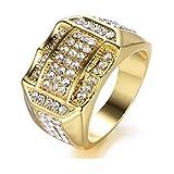 Watopi - Anello da Uomo Brillante con Inserto in Diamante, Stile Business Casual, Anello in Oro Brillante, Idea Regalo per Compleanno
