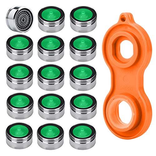 Strahlregler m24 Wasserhahn Sieb Einsatz, HTBAKOI für Wasserhähne 15pcs Material Messing von hoher Qualität verchromt mit ABS-Kunststoff-Filter + 1 Stück Schlüssel