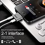 iPhone 7/ 8/ X Adapter and Splitter, Baseus Lightning Adapter Double Lightning Headphone 2 in 1 Charge and Audio Listen to Music at the Same Time Converter for iPhone X,iPhone 8/8Plus/7/7Plus (Silver)