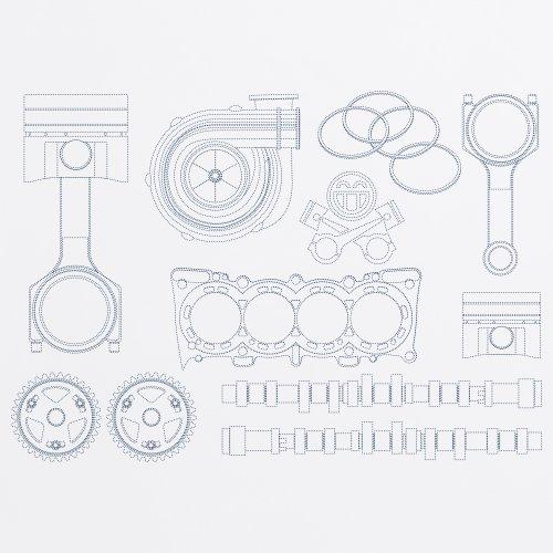 PistonHeads Car Parts T-Shirt, Damen Wei