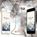 Aonsen Bluetooth Headphones, Wireless Bluetooth V4.2 Stereo Magnetic In-Ear Sports Earphones with Mic IPX5 Waterproof Sweatproof Earbuds Gym Running Noise Cancelling Headsets(Gold) - Fozento