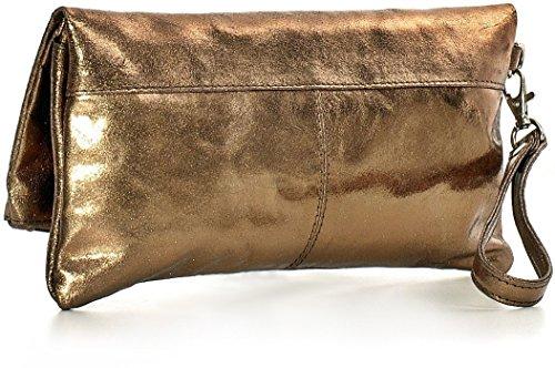 CNTMP, Borsa da Donna, Clutch, Borsa a Mano, Pochette, Borsetta da Sera, Effetto Metallico, Con Tasca in Pelle, 25x13x2,5cm (L x H x P) bronzo