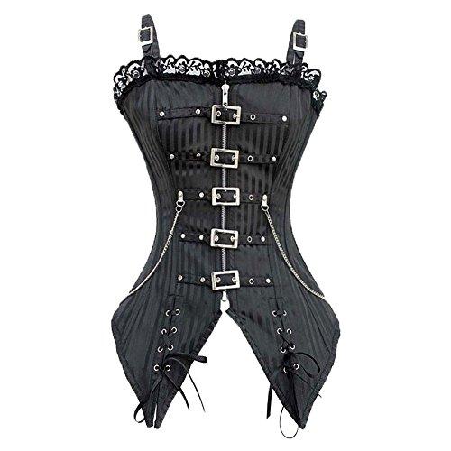 Gothic Beauty Kostüme (Beauty-You Damen Corsage Korsett Bustier Gothic Steampunk Top Vintage Corsagentop Schwarz)
