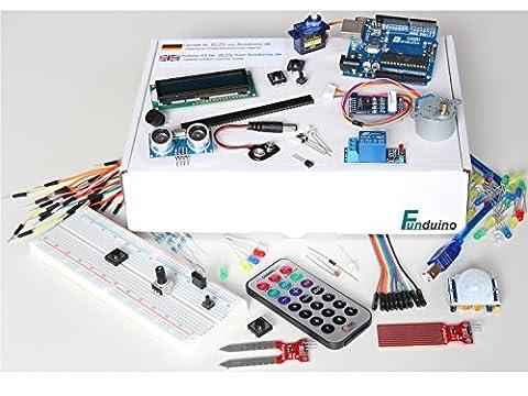 """Lernset für Arduino - """"UNO 7 + Box"""" mit UNO R3, Grundausstattung + Relais +IR-FB +Feuchtigkeitssensoren +Schrittmotor + Deutsche Anleitung - Funduino Kit """"U7-B"""""""