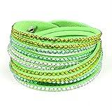 Distressed Damen elegantes Strass Armband Wickelarmband mit echten Kristallen - viele Farben neongruen/gelb