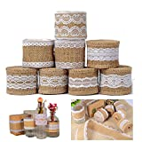 8Pcs natural de arpillera artesanía cinta rollo con encaje blanco 5CM x 2M para DIY hecho a mano artesanías de boda decoraciones encaje de lino regalo arreglos florales por Shovan