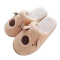 Womens Indoor Warm Fleece Slippers, Ladies Girls Cute Cartoon Brown Pig Winter Soft Cozy Thermal Non-Slip Fuzzy Plush Mules Home Indoor Floor Slip-on Shoes Footwear Clog