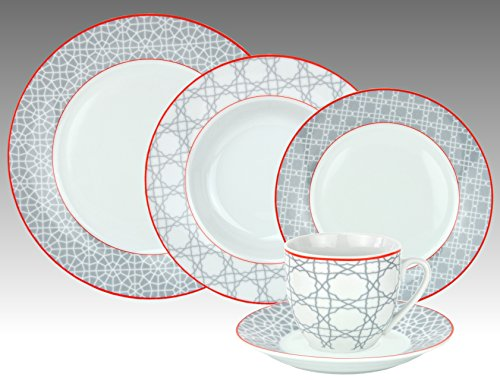 Van Well Bouquet, 30-Piece Dinner Set, Porcelain Coffee Service + 12-Piece Dinner Set for 6 Persons, High-Quality Designer Harness with Decorative: Mosaic Grey and Red Broken Lines, Decoration – Elegant Chip Effect