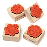 #3: TOOGOO(R) 4pcs DIY Sweet Flowers Set Diary Scrapbook Floral Decoration Wooden Rubber Stamp